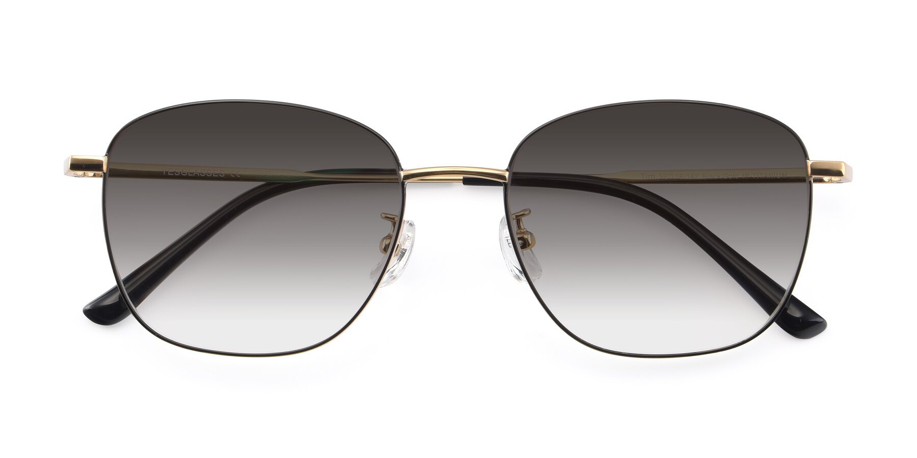 Folded Front of Tim in Black-Gold with Gray Gradient Lenses