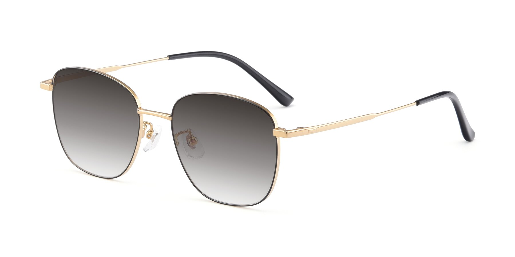 Angle of Tim in Black-Gold with Gray Gradient Lenses