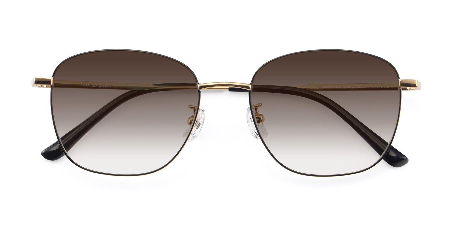 Folded Front of Tim in Black-Gold with Brown Gradient Lenses