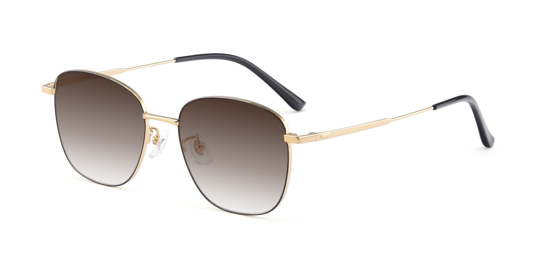 Angle of Tim in Black-Gold with Brown Gradient Lenses