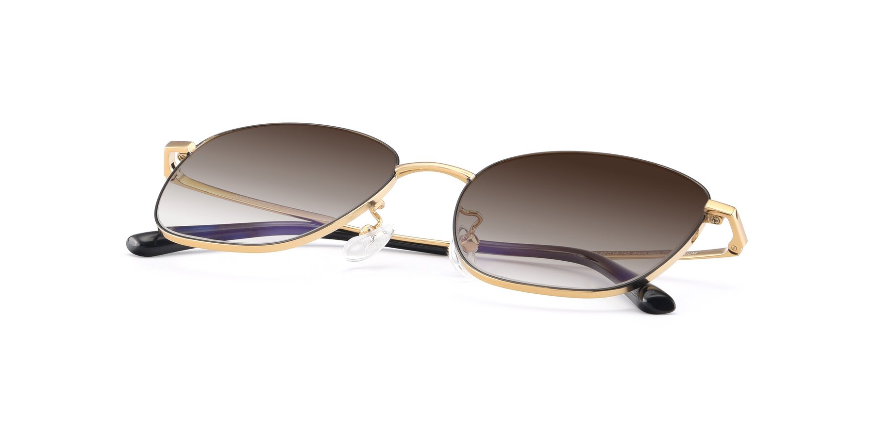 View of Tim in Black-Gold with Brown Gradient Lenses