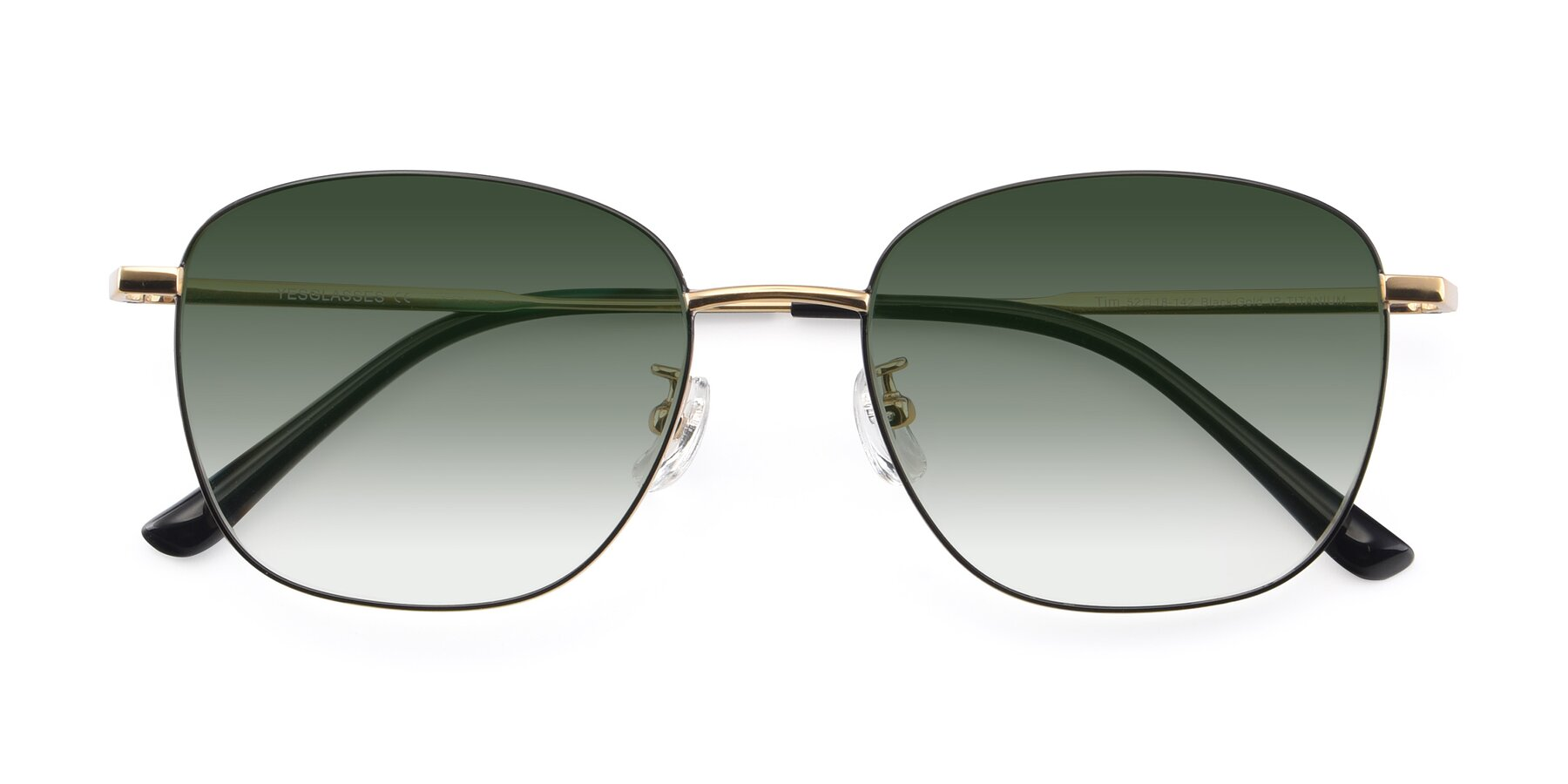 Folded Front of Tim in Black-Gold with Green Gradient Lenses
