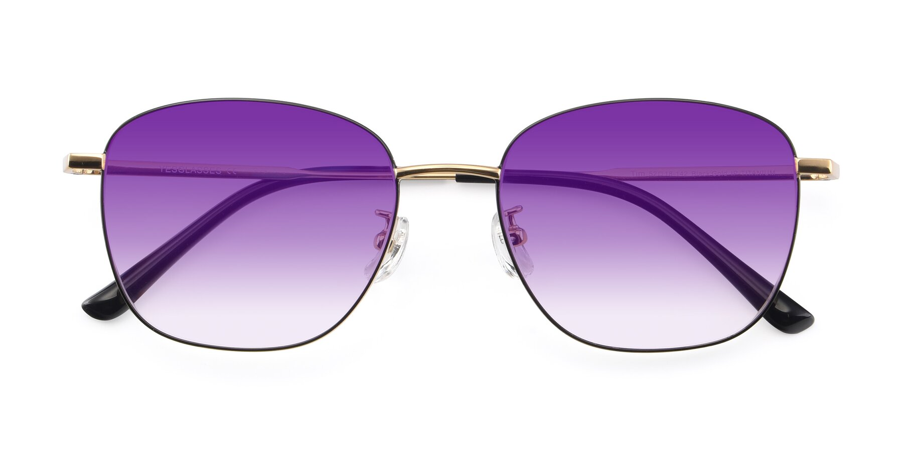 Folded Front of Tim in Black-Gold with Purple Gradient Lenses