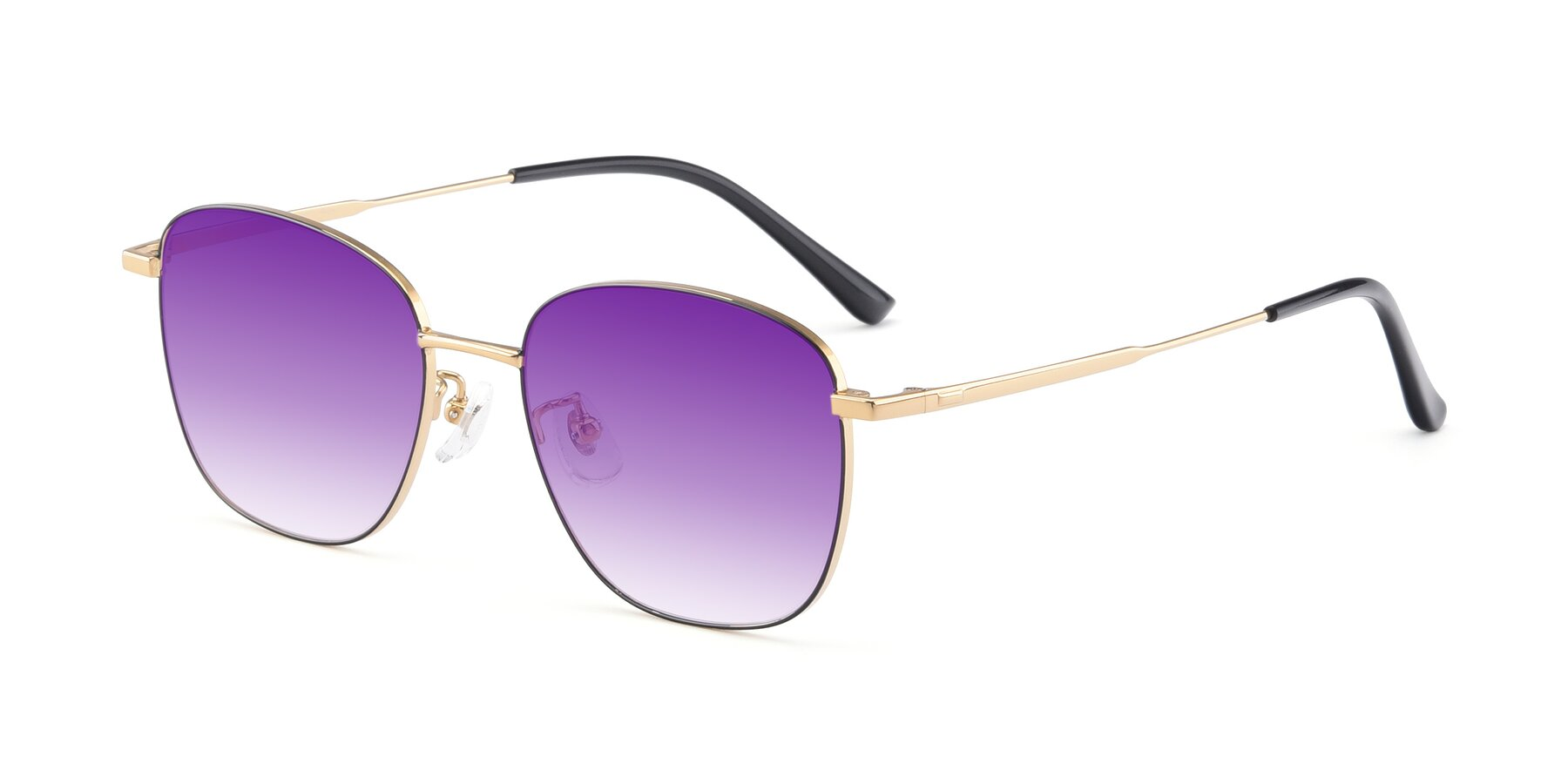 Angle of Tim in Black-Gold with Purple Gradient Lenses