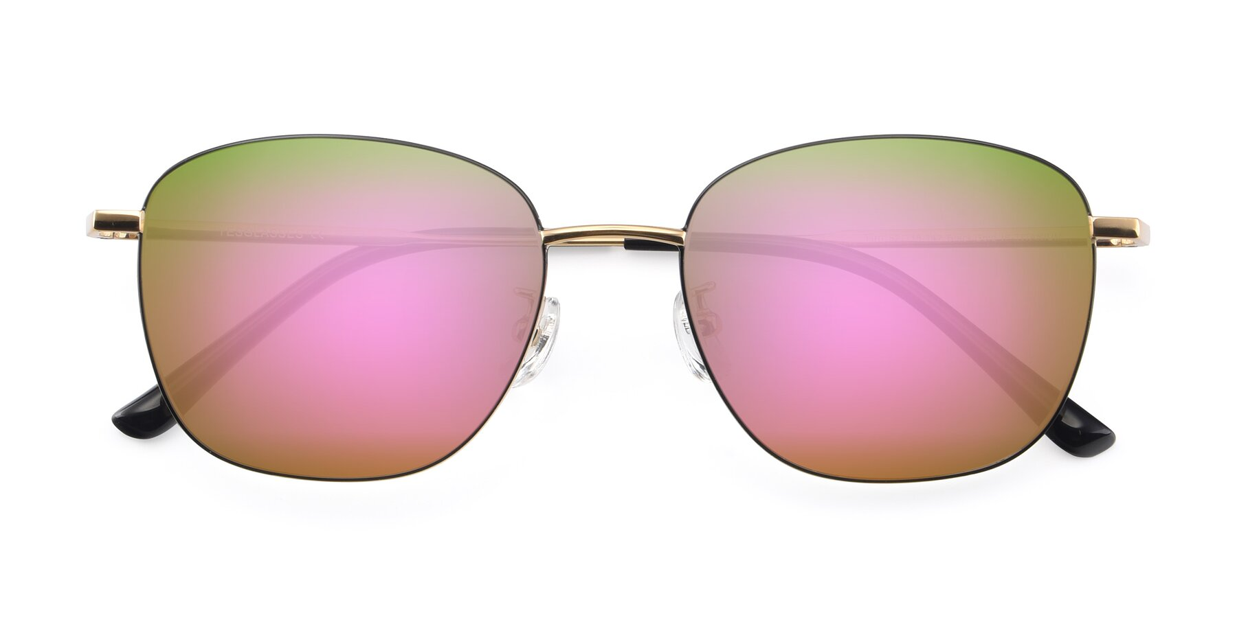 Folded Front of Tim in Black-Gold with Pink Mirrored Lenses