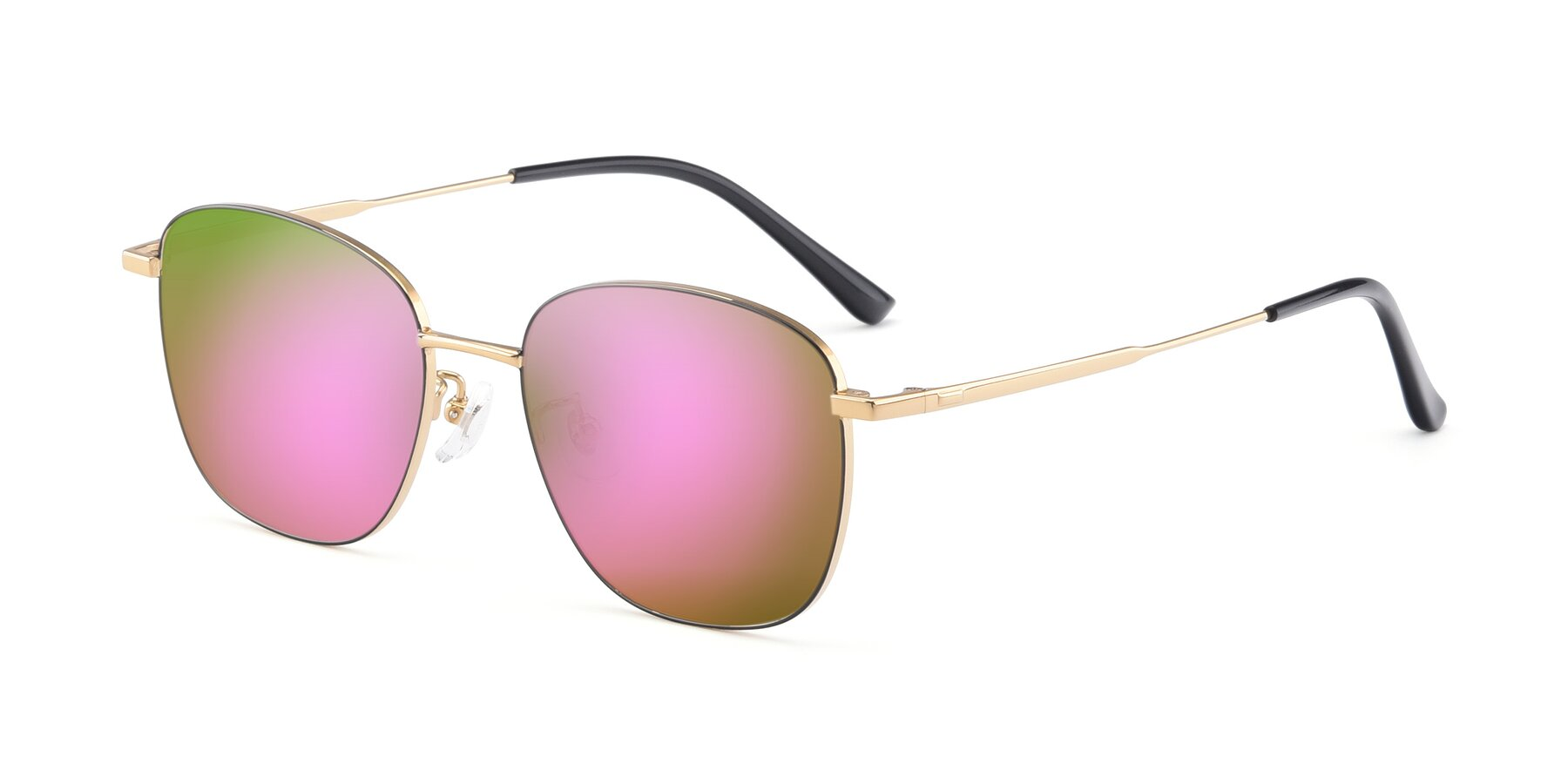 Angle of Tim in Black-Gold with Pink Mirrored Lenses