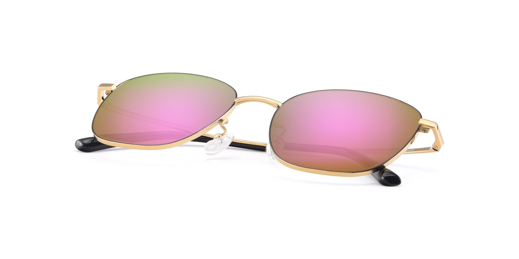 View of Tim in Black-Gold with Pink Mirrored Lenses