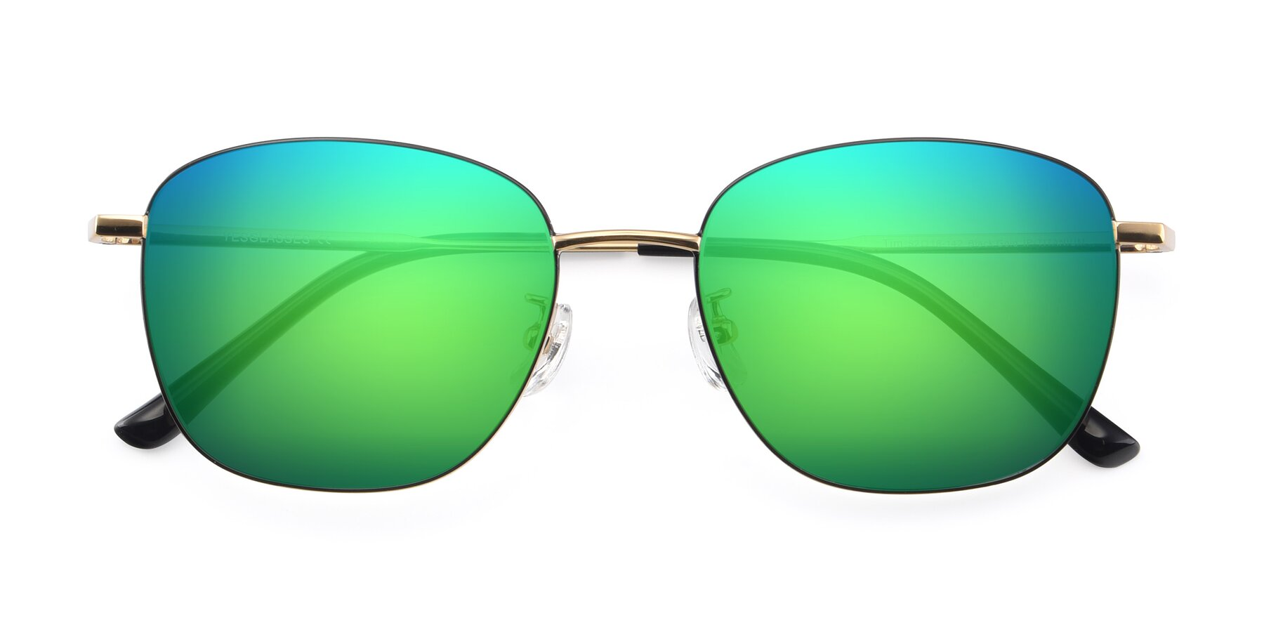 Folded Front of Tim in Black-Gold with Green Mirrored Lenses