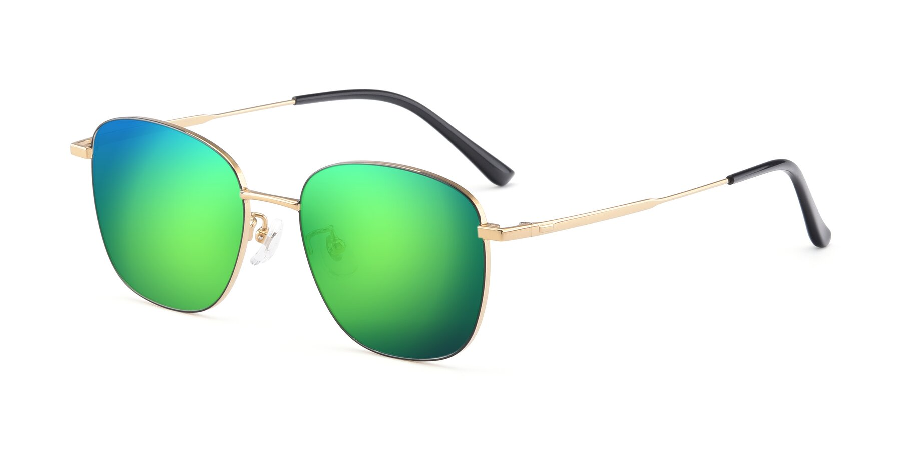 Angle of Tim in Black-Gold with Green Mirrored Lenses