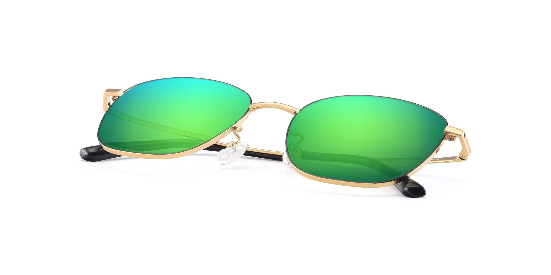View of Tim in Black-Gold with Green Mirrored Lenses