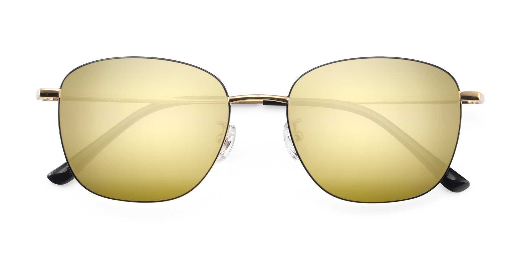 Folded Front of Tim in Black-Gold with Gold Mirrored Lenses