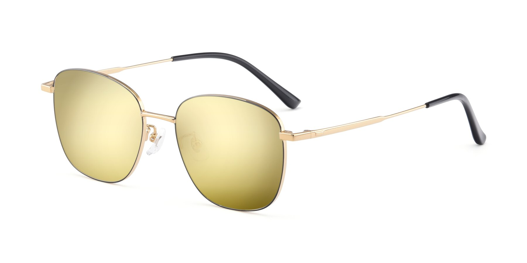 Angle of Tim in Black-Gold with Gold Mirrored Lenses