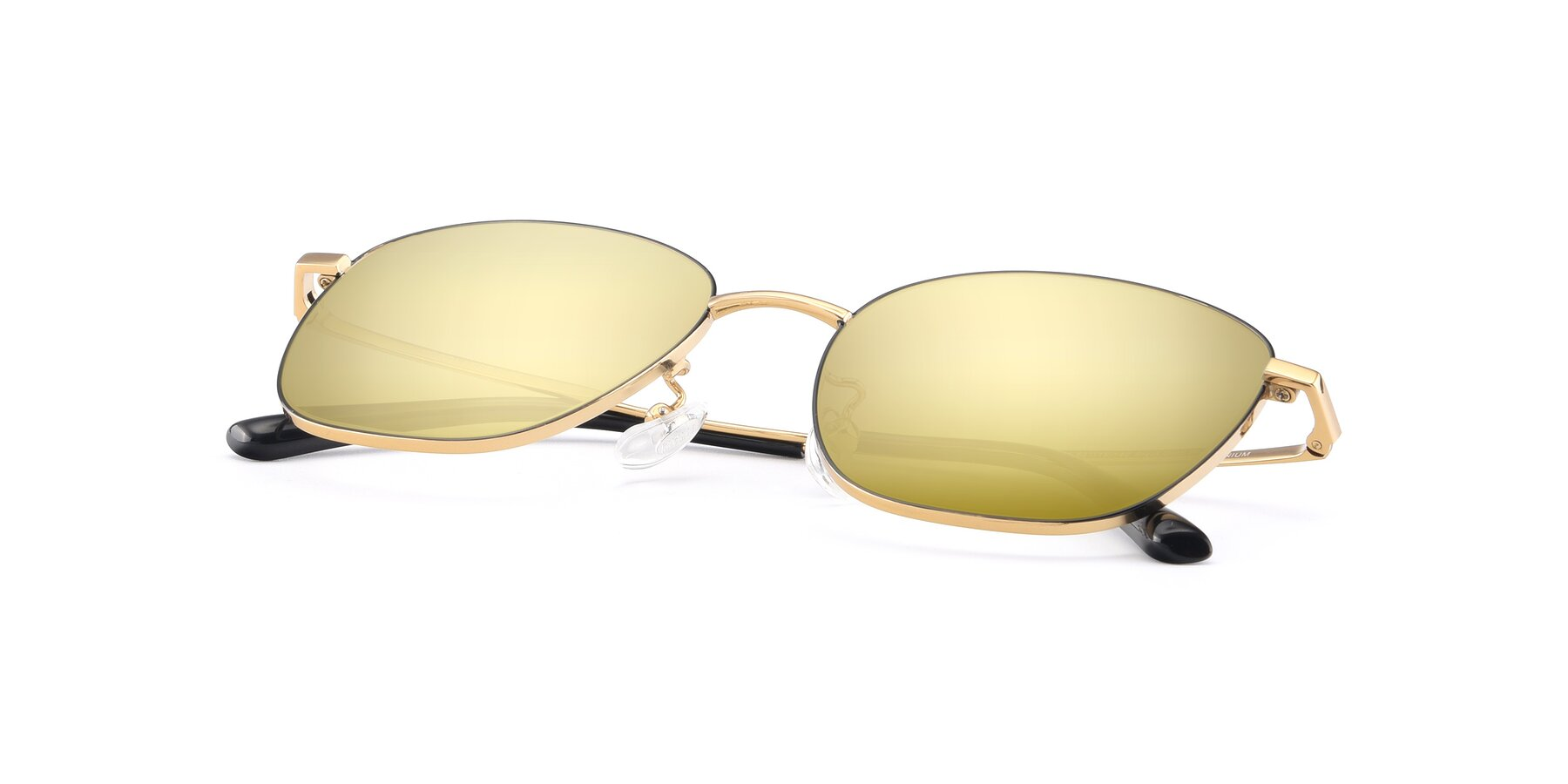 View of Tim in Black-Gold with Gold Mirrored Lenses