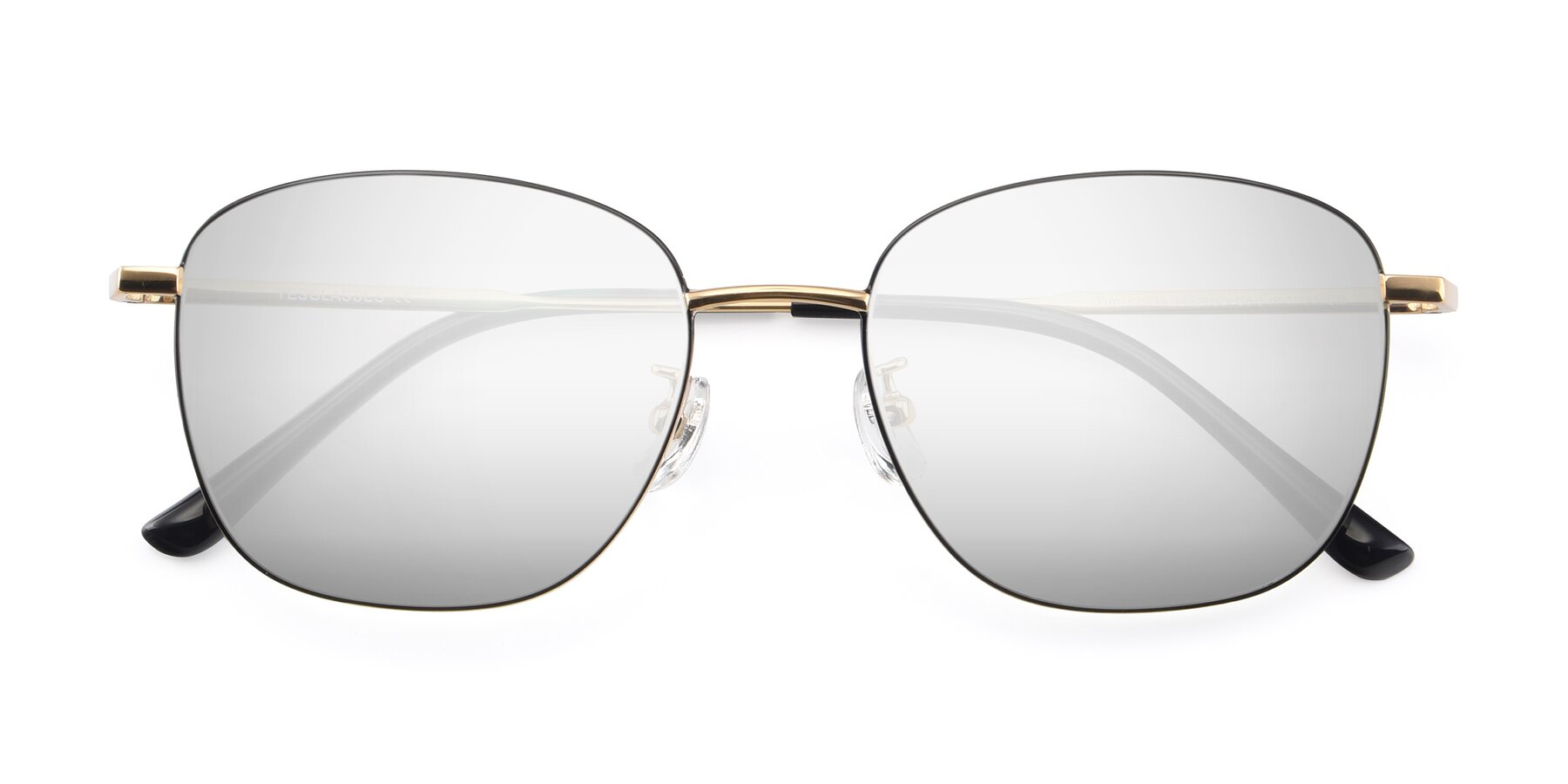 Folded Front of Tim in Black-Gold with Silver Mirrored Lenses