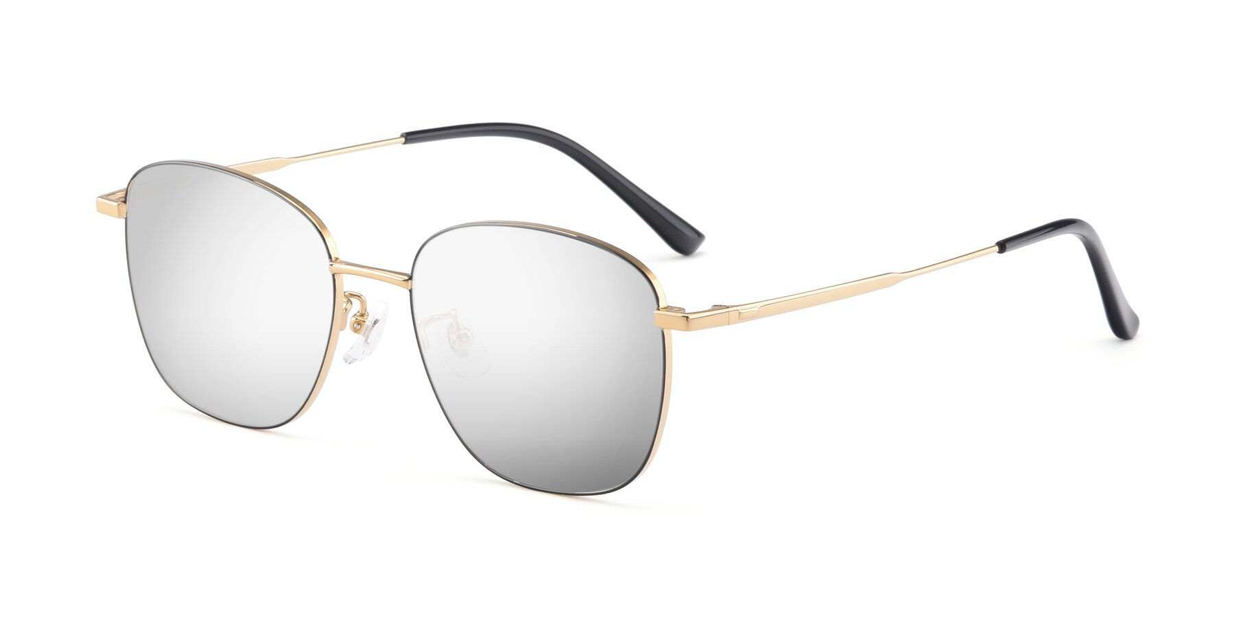 Angle of Tim in Black-Gold with Silver Mirrored Lenses