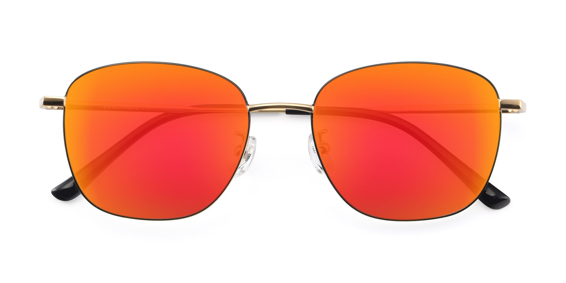 Folded Front of Tim in Black-Gold with Red Gold Mirrored Lenses