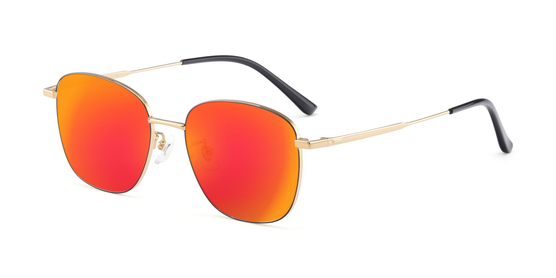 Angle of Tim in Black-Gold with Red Gold Mirrored Lenses