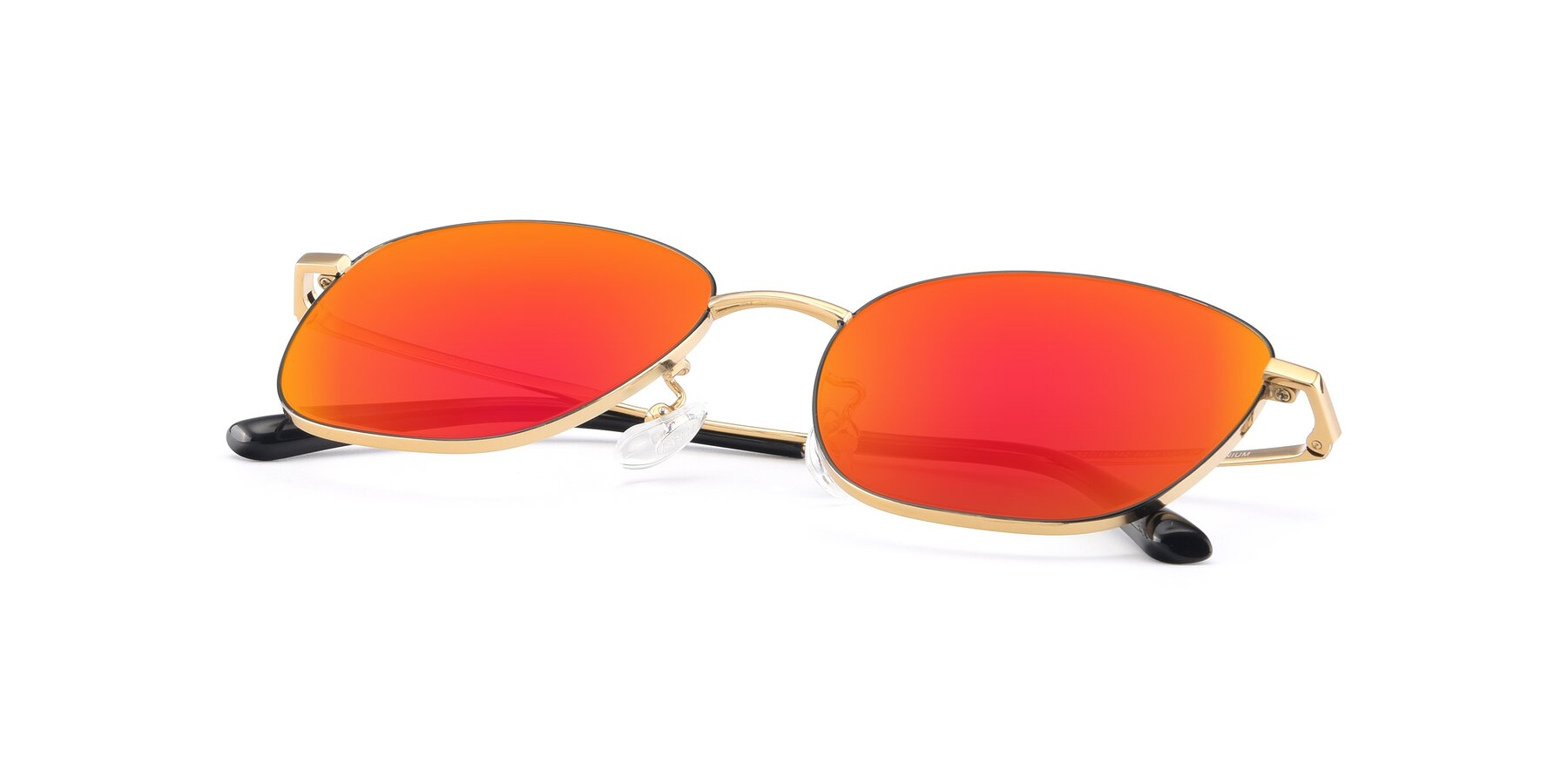 View of Tim in Black-Gold with Red Gold Mirrored Lenses