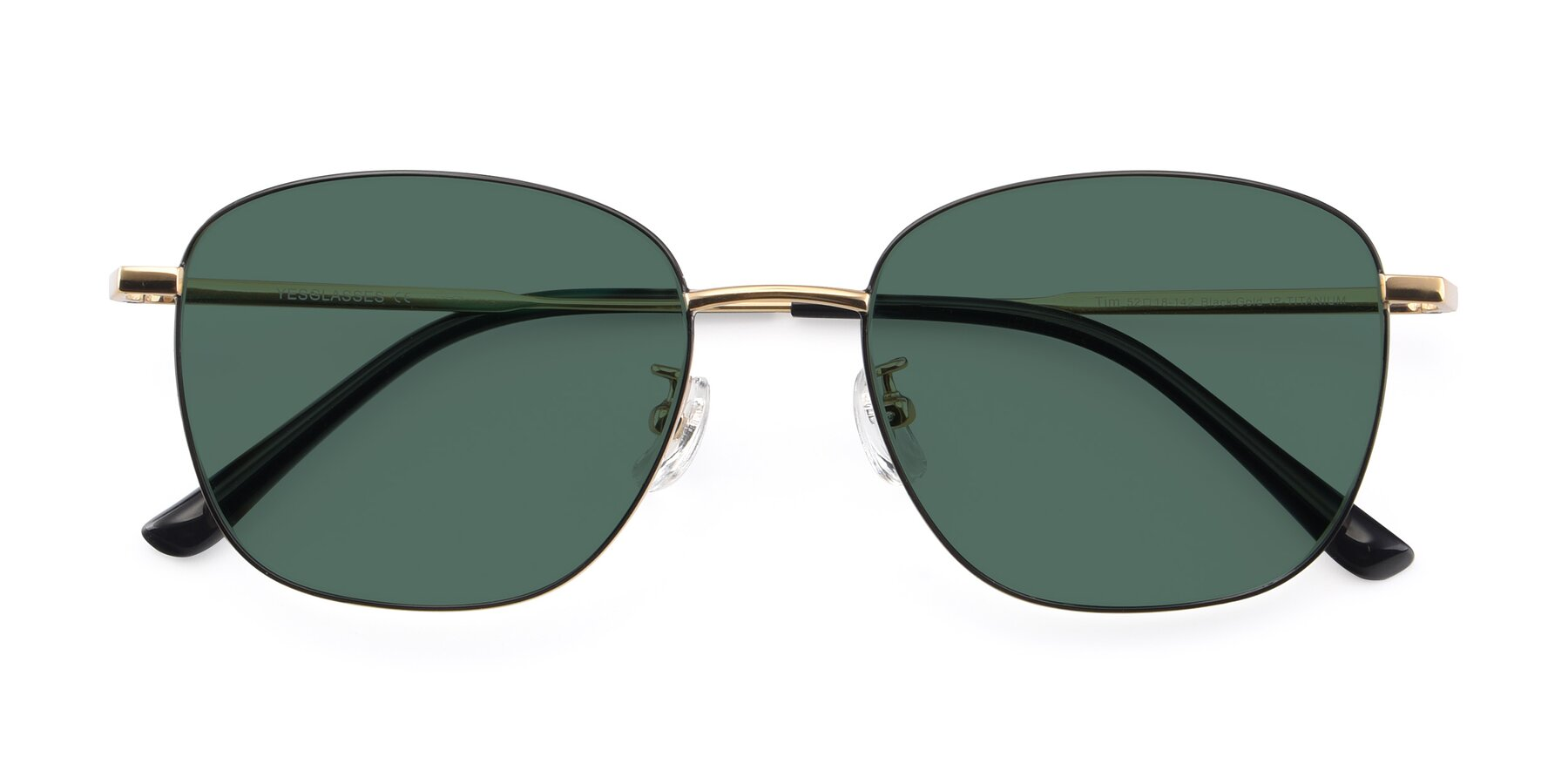 Folded Front of Tim in Black-Gold with Green Polarized Lenses