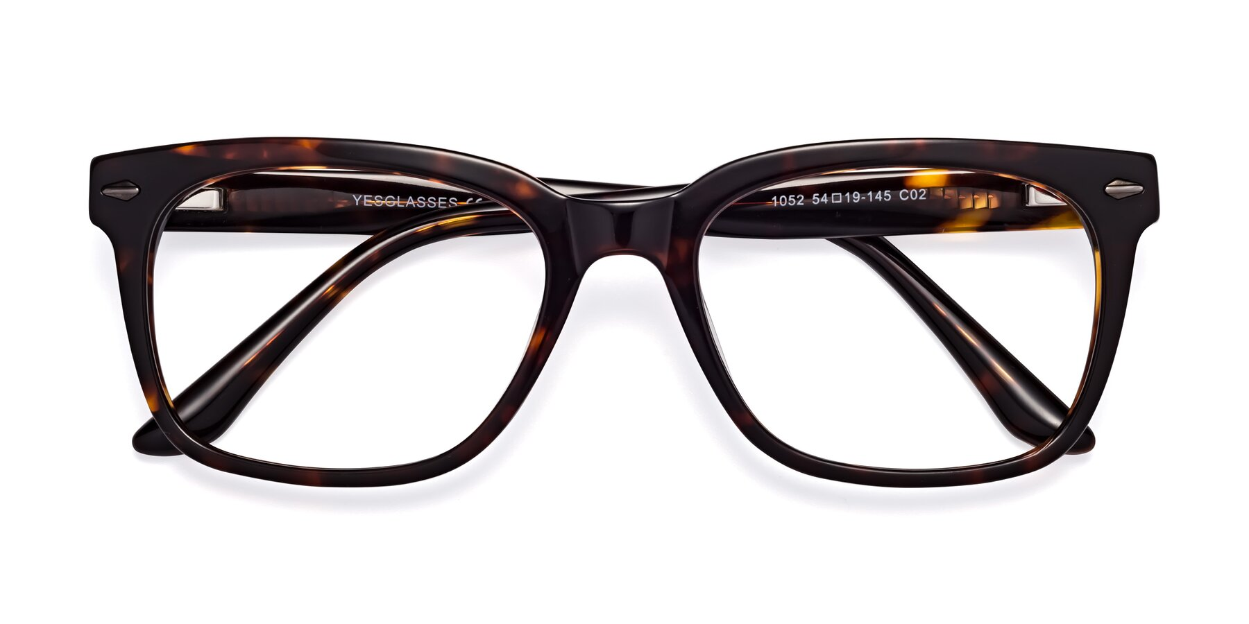 Folded Front of 1052 in Tortoise with Clear Eyeglass Lenses