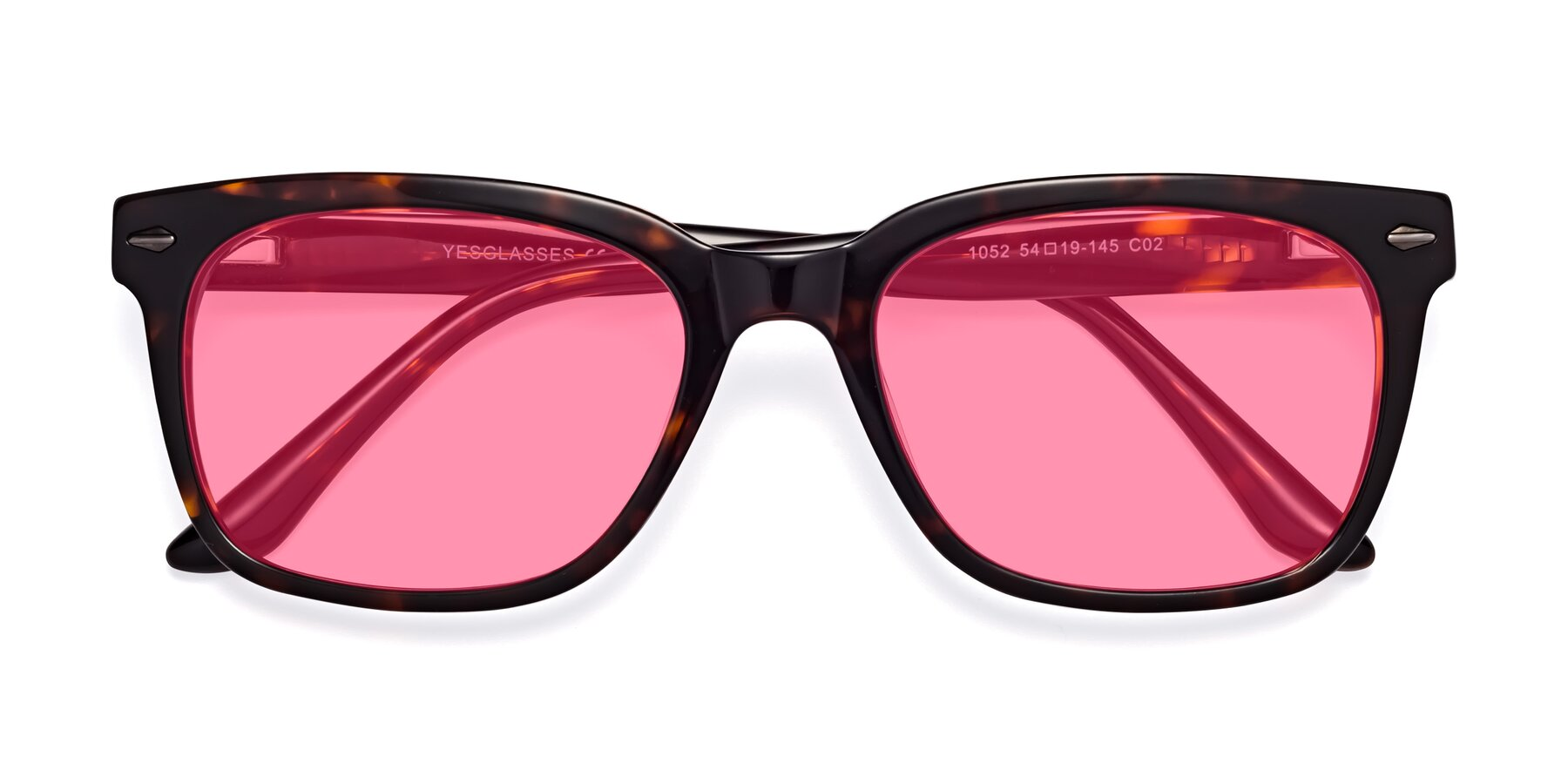 Folded Front of 1052 in Tortoise with Pink Tinted Lenses