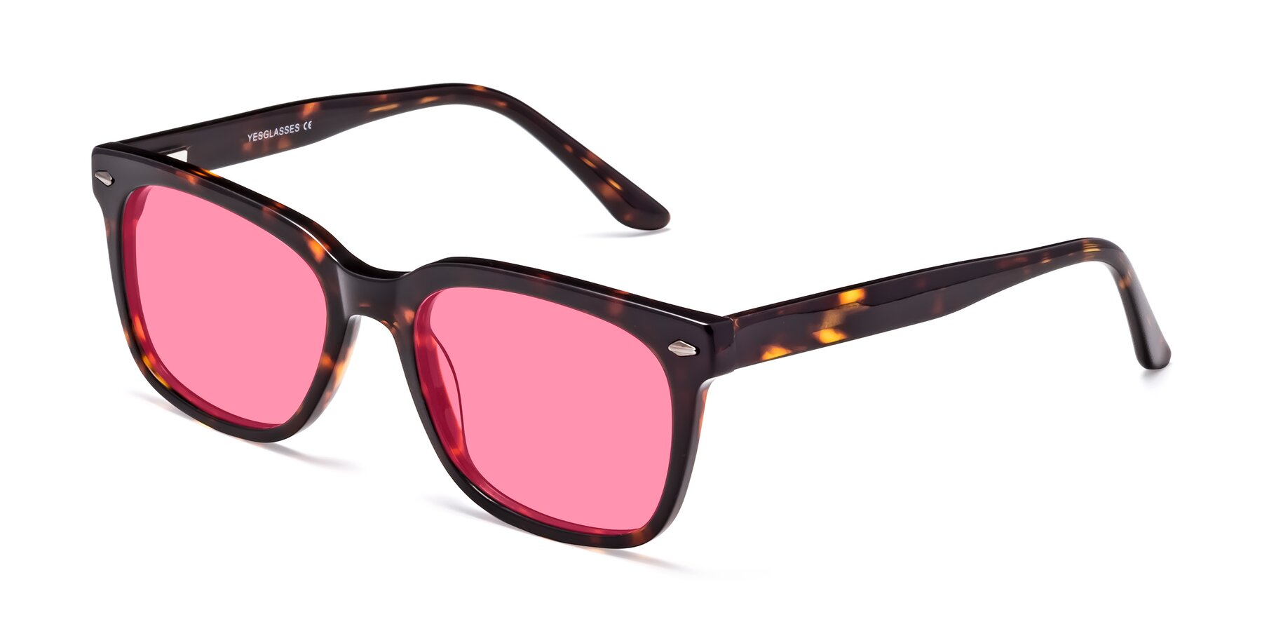 Angle of 1052 in Tortoise with Pink Tinted Lenses