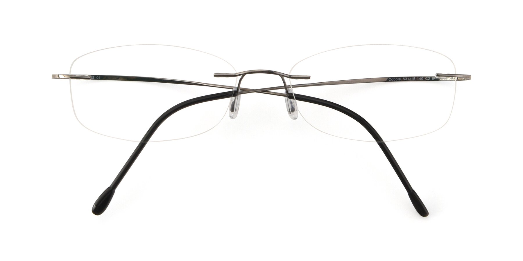 Folded Front of Cobble in Gunmetal with Clear Blue Light Blocking Lenses