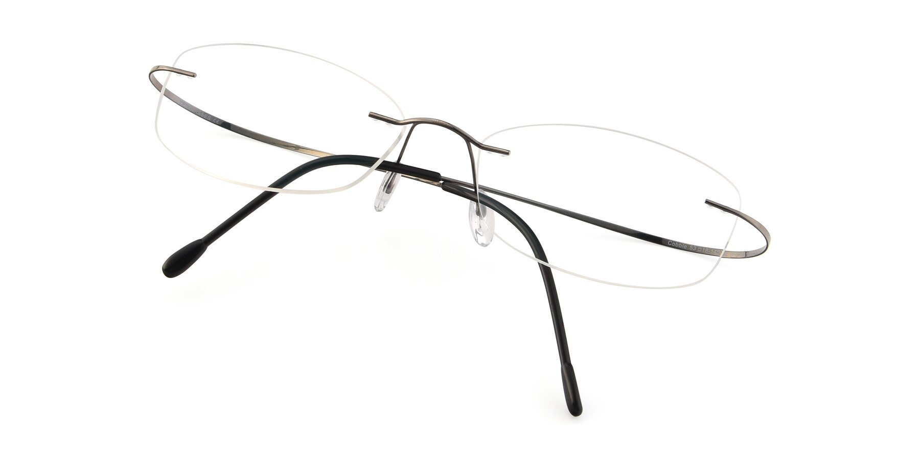 View of Cobble in Gunmetal with Clear Blue Light Blocking Lenses