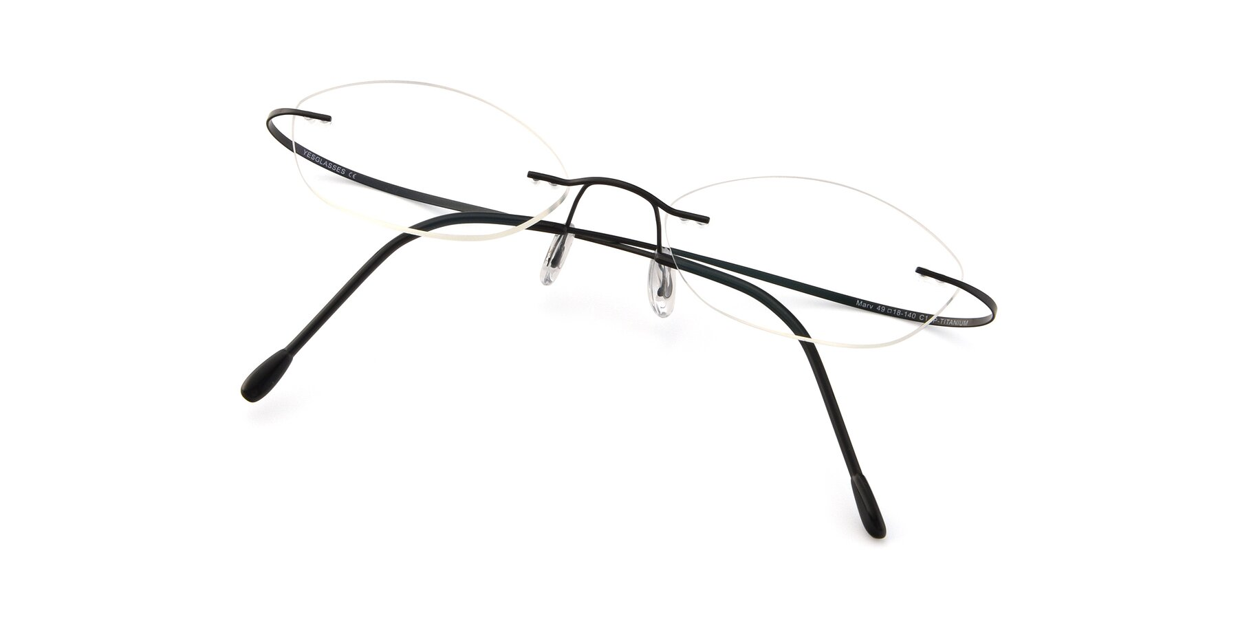 View of Marv in Black with Clear Eyeglass Lenses