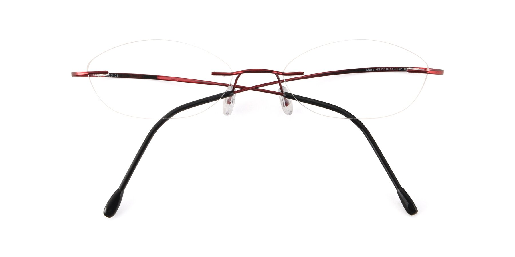 Folded Front of Marv in Wine with Clear Blue Light Blocking Lenses