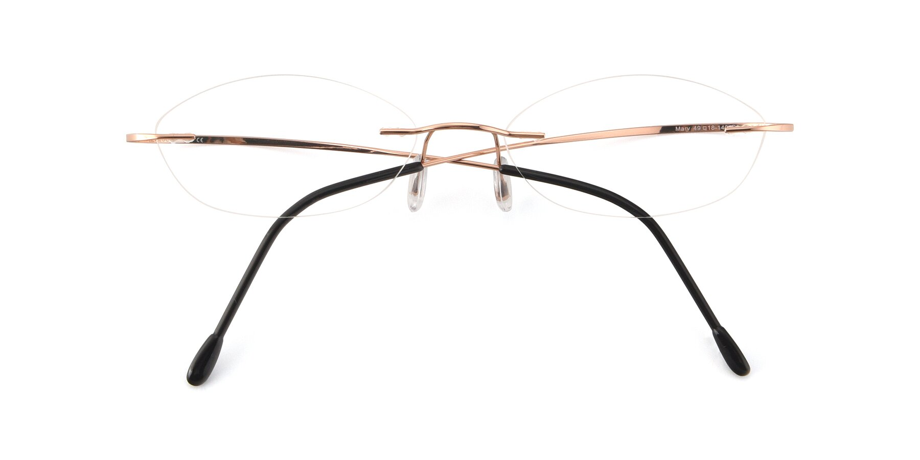 Folded Front of Marv in Rose Gold with Clear Eyeglass Lenses