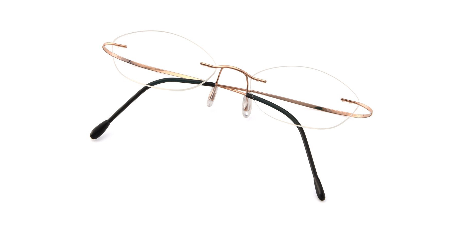 View of Marv in Rose Gold with Clear Eyeglass Lenses