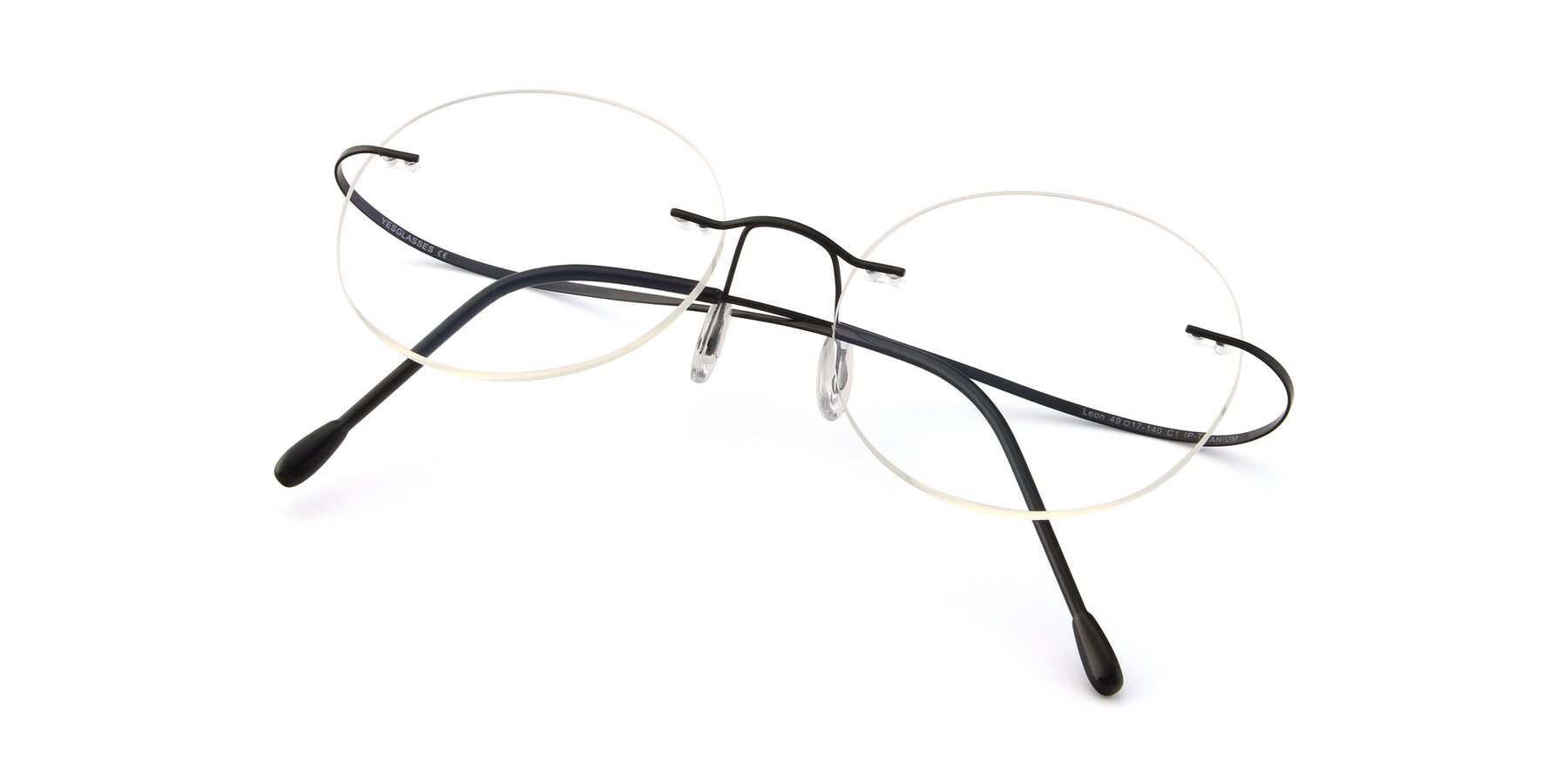 View of Leon in Black with Clear Eyeglass Lenses