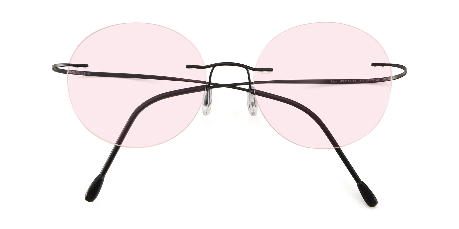 Folded Front of Leon in Black with Light Pink Tinted Lenses