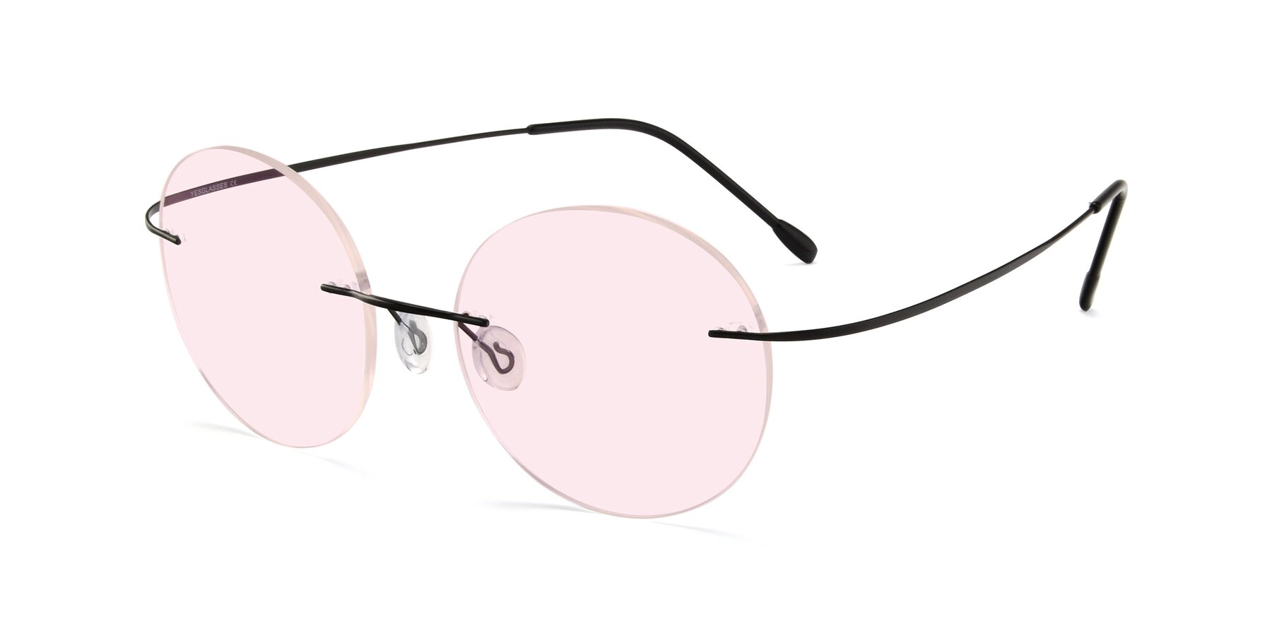 Angle of Leon in Black with Light Pink Tinted Lenses