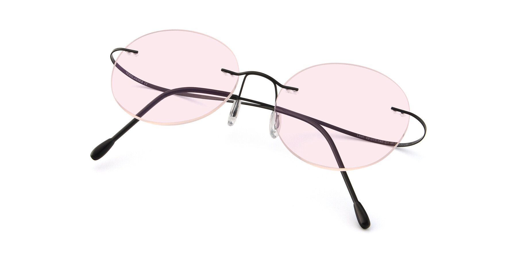 View of Leon in Black with Light Pink Tinted Lenses