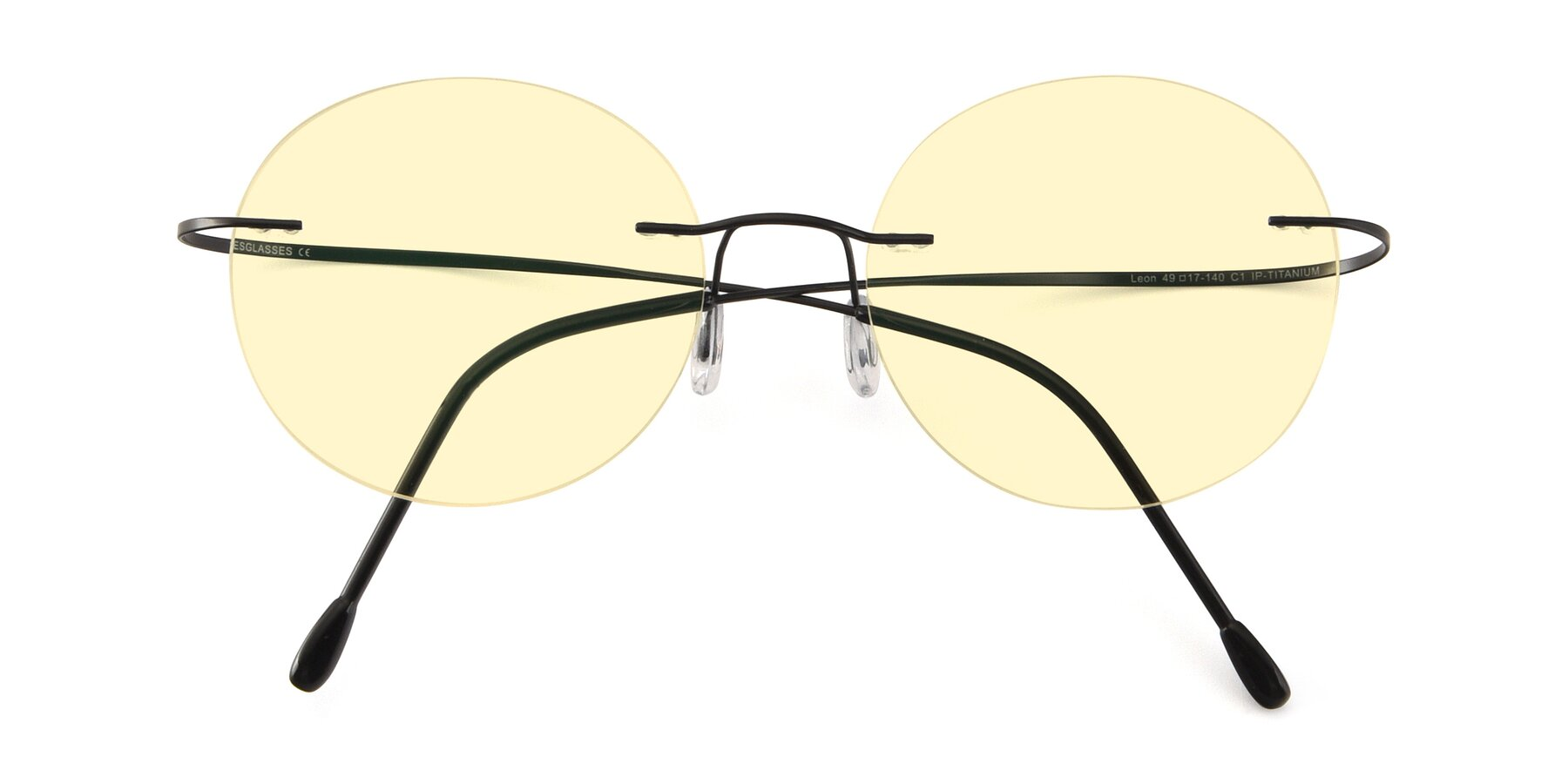 Folded Front of Leon in Black with Light Yellow Tinted Lenses