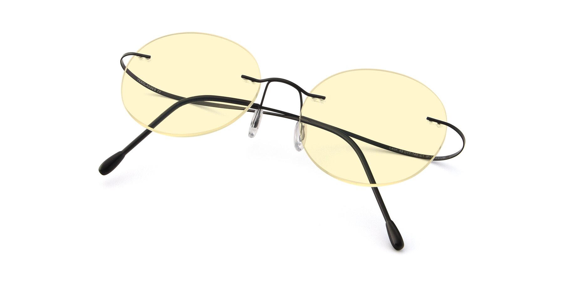 View of Leon in Black with Light Yellow Tinted Lenses