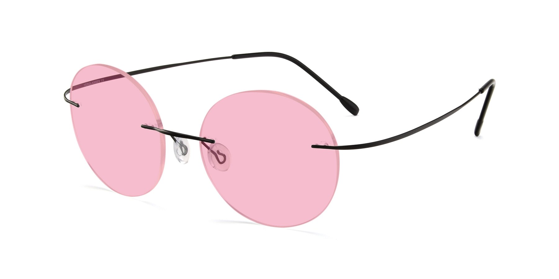 Angle of Leon in Black with Medium Pink Tinted Lenses