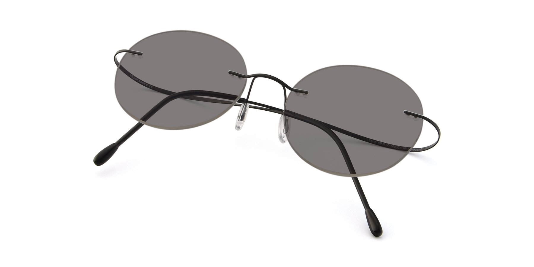 View of Leon in Black with Medium Gray Tinted Lenses