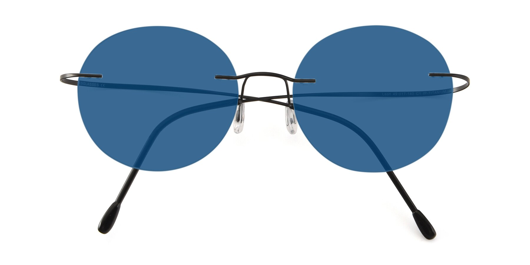 Folded Front of Leon in Black with Blue Tinted Lenses