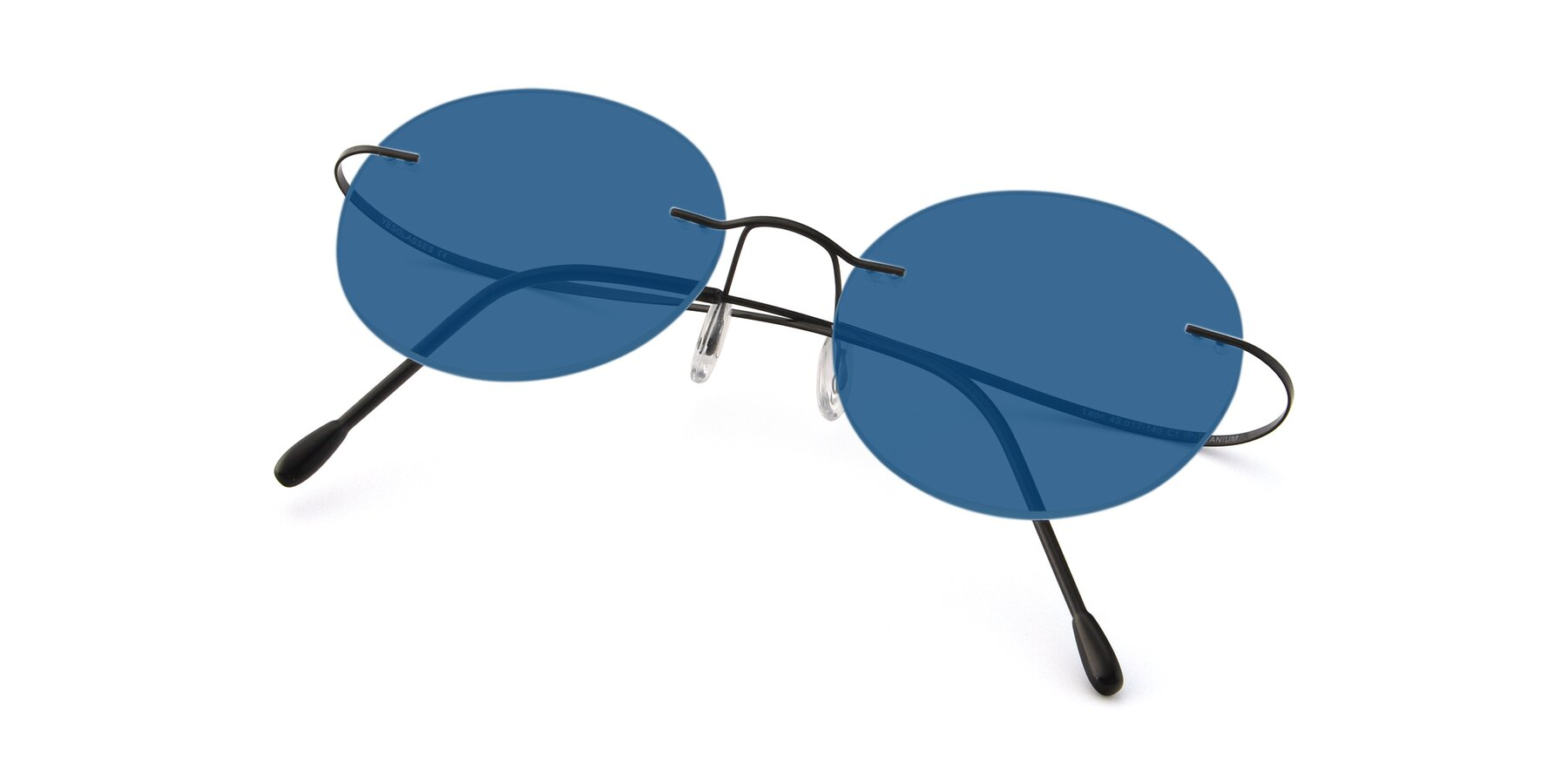View of Leon in Black with Blue Tinted Lenses