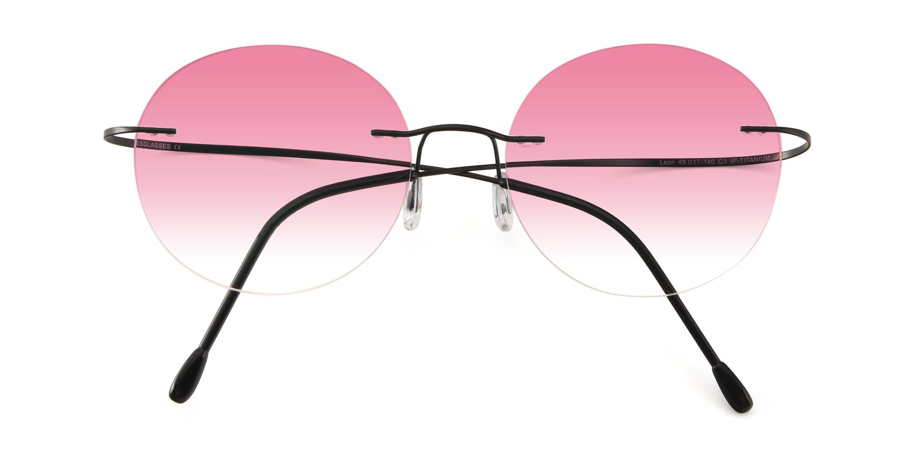 Folded Front of Leon in Black with Pink Gradient Lenses