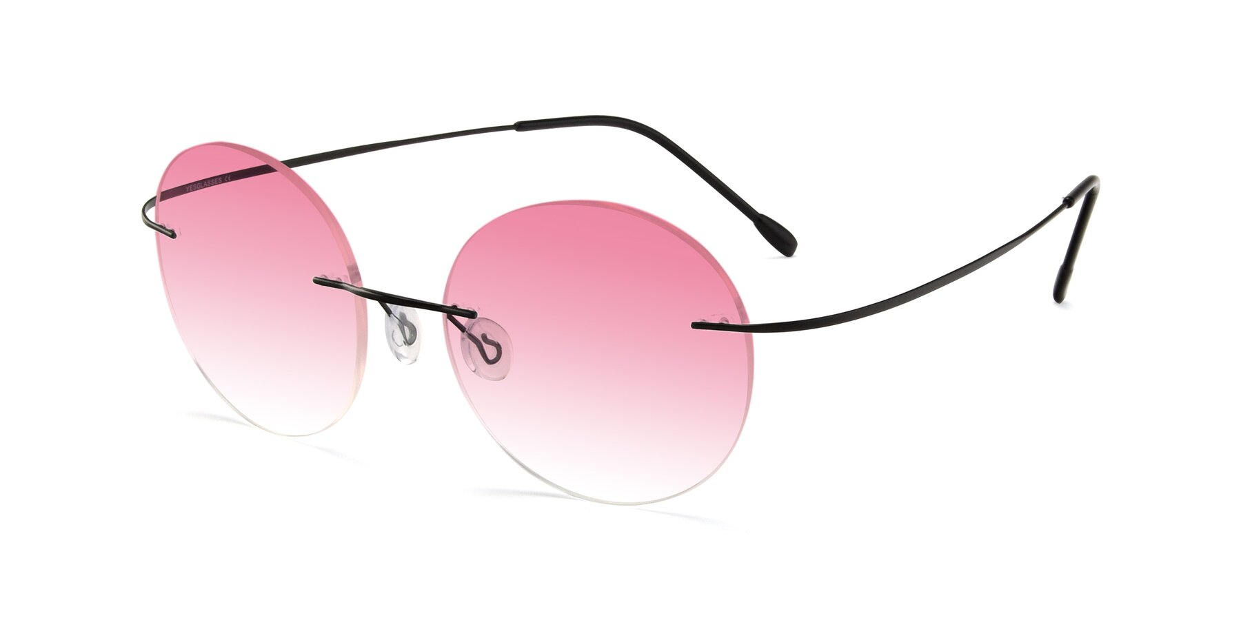 Angle of Leon in Black with Pink Gradient Lenses