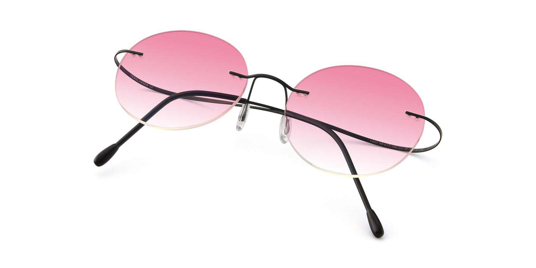 View of Leon in Black with Pink Gradient Lenses