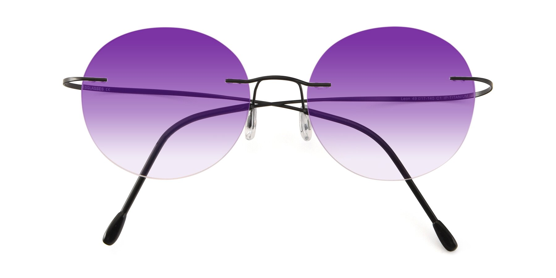 Folded Front of Leon in Black with Purple Gradient Lenses