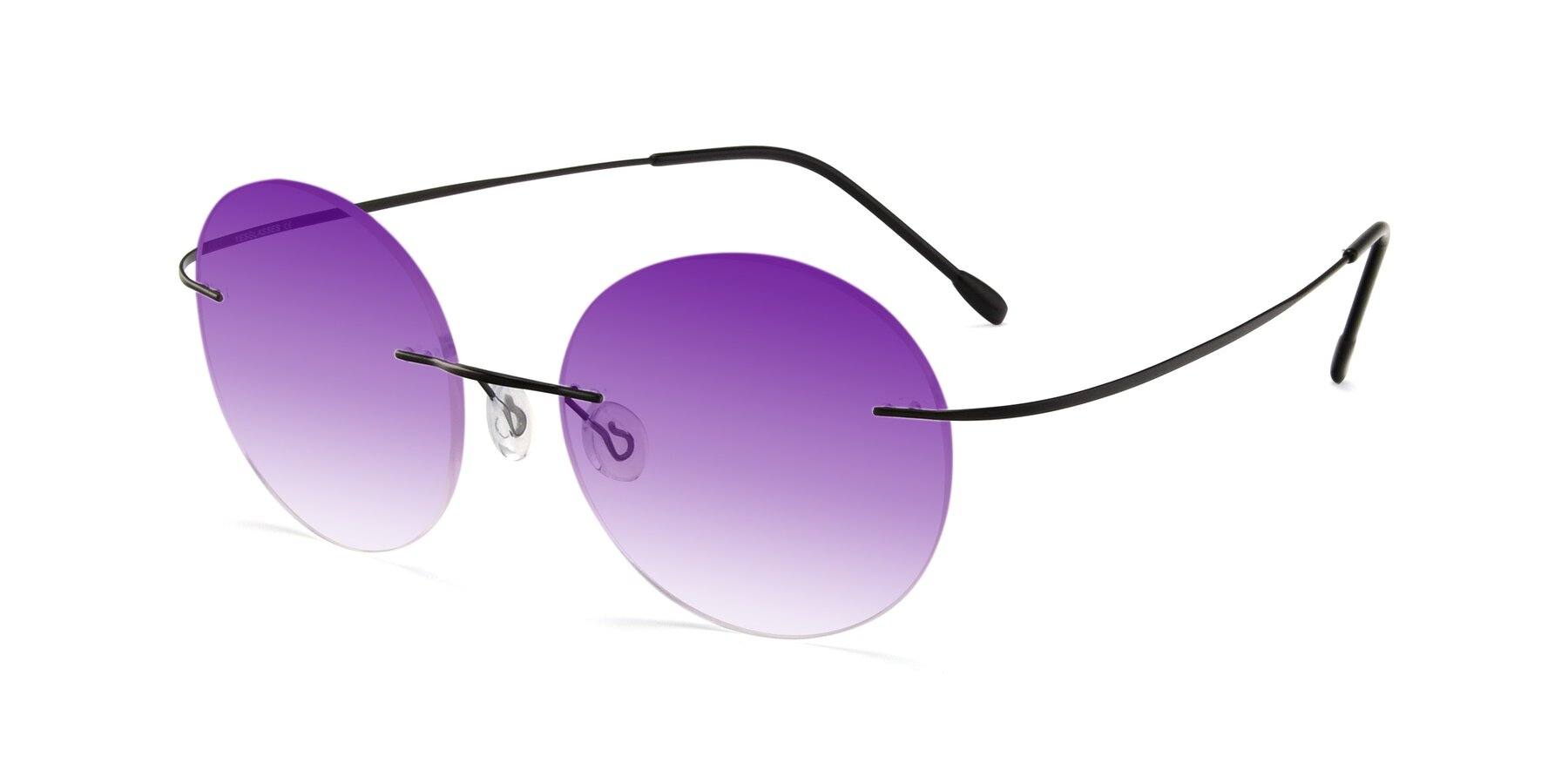 Angle of Leon in Black with Purple Gradient Lenses
