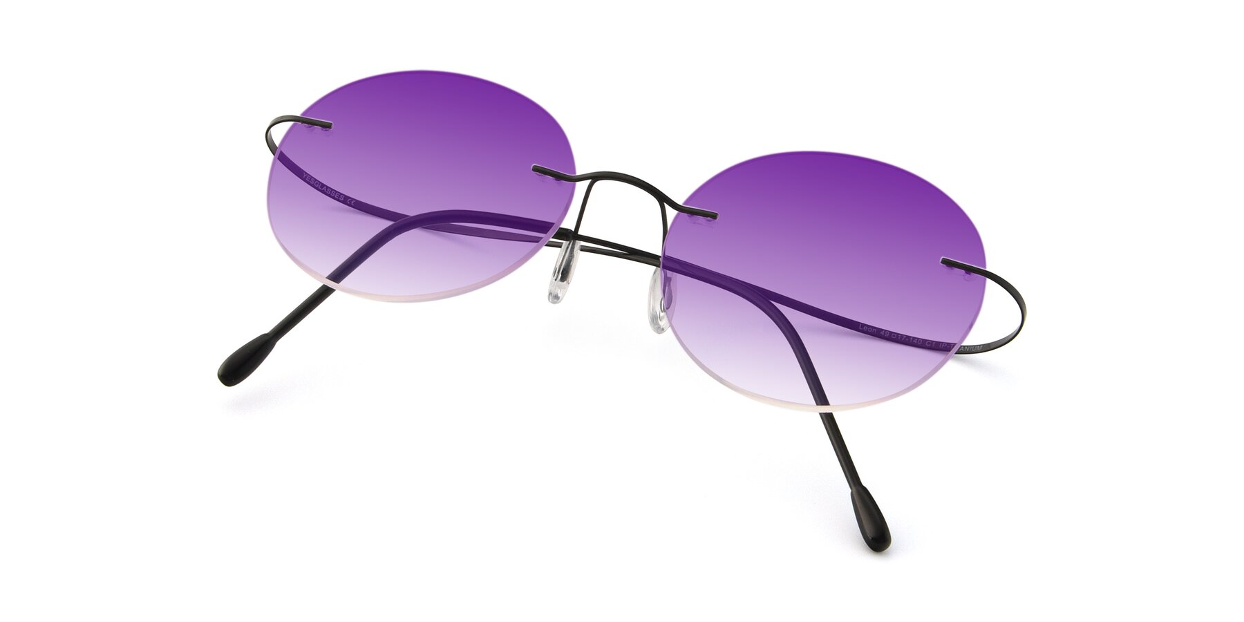 View of Leon in Black with Purple Gradient Lenses