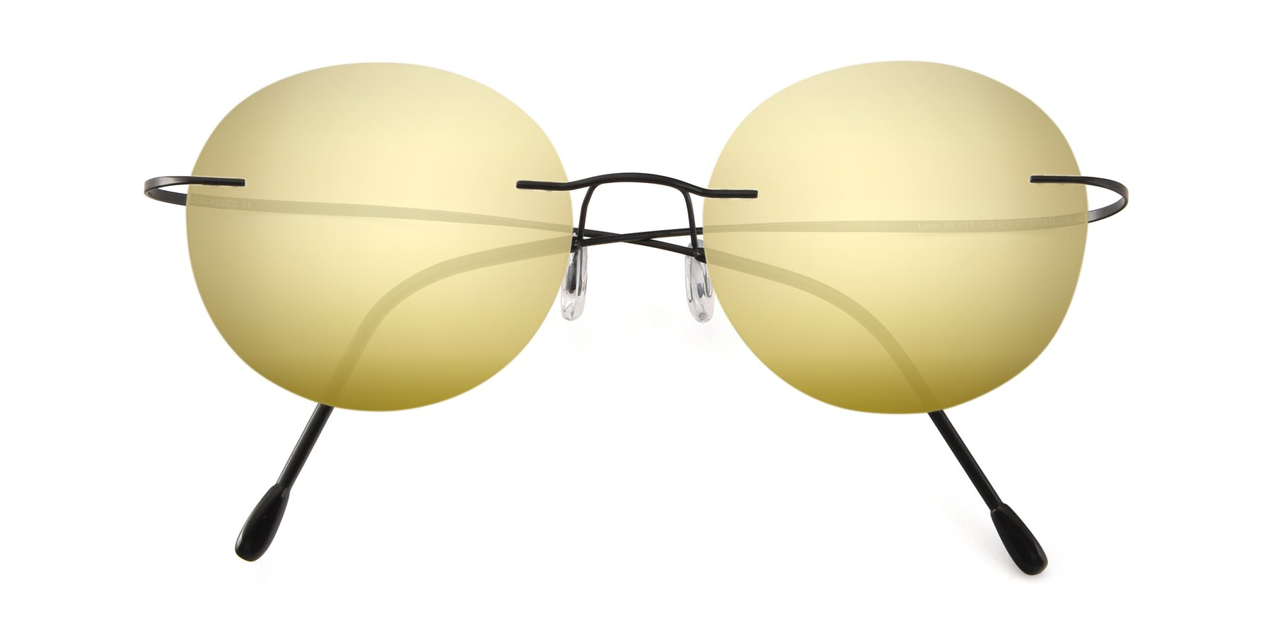 Folded Front of Leon in Black with Gold Mirrored Lenses
