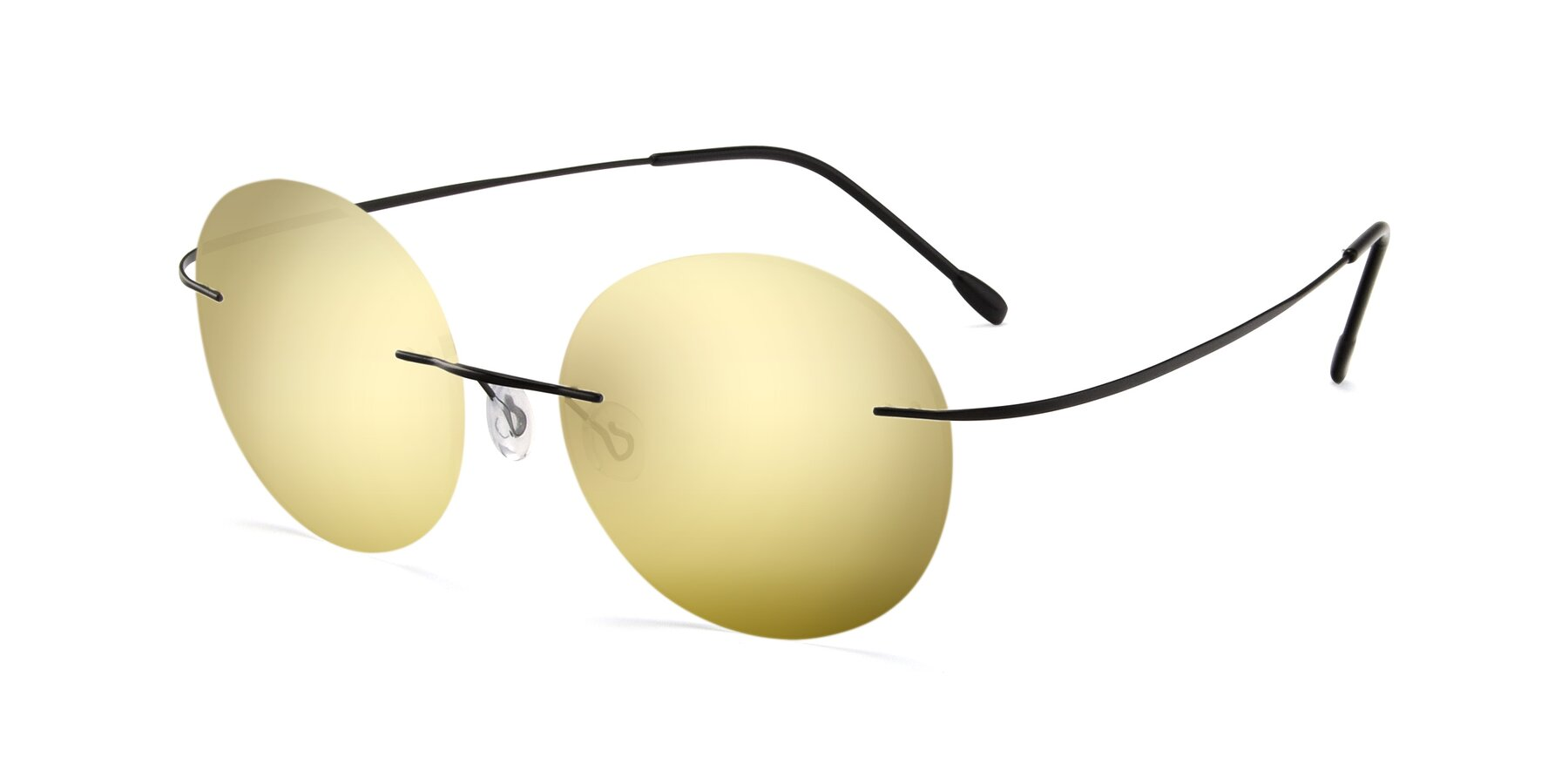 Angle of Leon in Black with Gold Mirrored Lenses